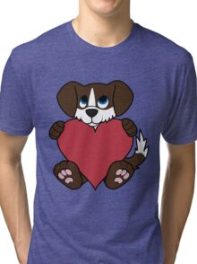 Valentine's Day Chocolate Dog with Blaze & Red Heart Tri-blend T-Shirt