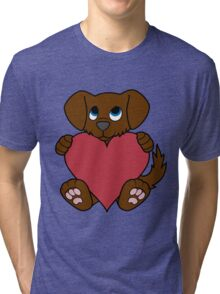 Valentine's Day Brown Dog with Red Heart Tri-blend T-Shirt