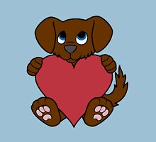 Valentine's Day Brown Dog with Red Heart Unisex T-Shirt