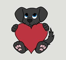 Valentine's Day Black Dog with Red Heart Unisex T-Shirt