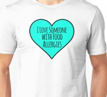 Food Allergies Teal Heart Unisex T-Shirt