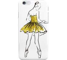 vector sketch of girls ballerina standing. gold texture iPhone Case/Skin