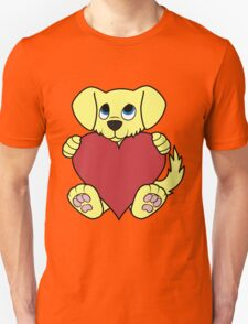 Valentine's Day Yellow Dog with Red Heart Unisex T-Shirt