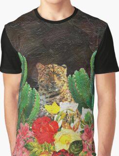 Gorgeous Tiger Floral Cactus Surrounding  Graphic T-Shirt