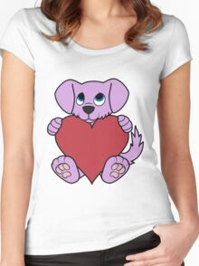 Valentine's Day Purple Dog with Red Heart Women's Fitted Scoop T-Shirt