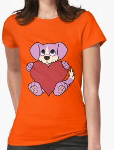 Valentine's Day Purple Dog with Blaze & Red Heart Womens Fitted T-Shirt
