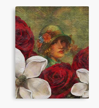 Vintage Woman Roses Oil Texture Canvas Print
