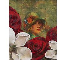 Vintage Woman Roses Oil Texture Photographic Print