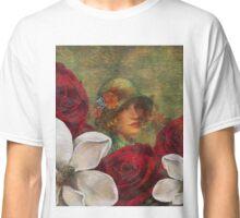 Vintage Woman Roses Oil Texture Classic T-Shirt