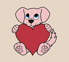 Valentine's Day Pink Dog with Red Heart Unisex T-Shirt