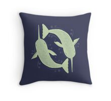 Paisley Narwhal  Throw Pillow