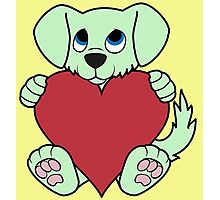 Valentine's Day Green Dog with Red Heart Photographic Print