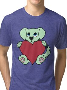 Valentine's Day Green Dog with Red Heart Tri-blend T-Shirt