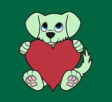 Valentine's Day Green Dog with Red Heart Unisex T-Shirt