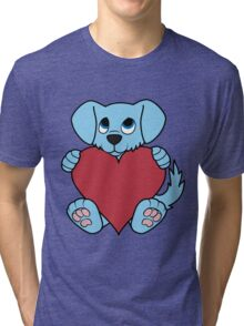 Valentine's Day Blue Dog with Red Heart Tri-blend T-Shirt