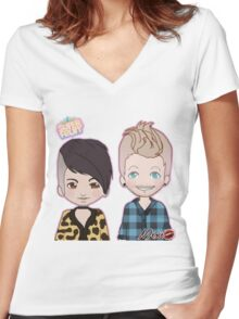 Sup3erFruit Cartoon Redesign Women's Fitted V-Neck T-Shirt