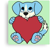 Valentine's Day Blue Dog with Blaze & Red Heart Canvas Print