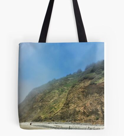 Foggy Beach Hillside Tote Bag