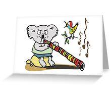 Koala playing didgeridoo cartoon Greeting Card