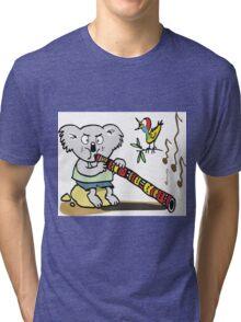 Koala playing didgeridoo cartoon Tri-blend T-Shirt