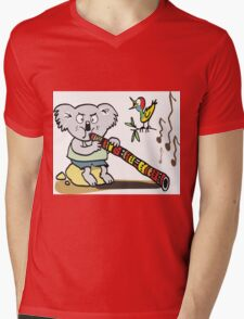 Koala playing didgeridoo cartoon Mens V-Neck T-Shirt