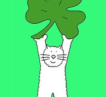 St Patrick's Day Cat with shamrock. by KateTaylor