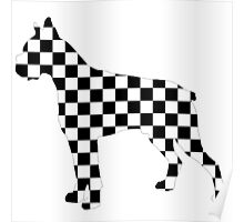 Racing Checkered Flag Cane Corso Mastiff Design Black and White Check Racer Dog Pattern 2 Poster