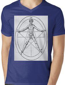 Pentagram and Human body Mens V-Neck T-Shirt