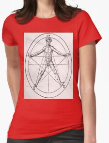 Pentagram and Human body Womens Fitted T-Shirt