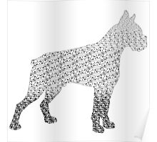 Cane Corso Mastiff Black and White Flames Pattern Tribal Design 1 Poster