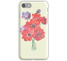 A Posy Of Wild Red And Lilac Anemone Coronaria Isolated  iPhone Case/Skin