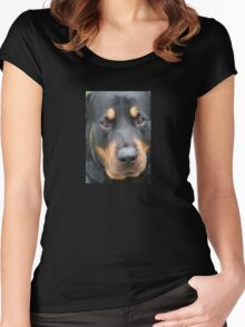 Beautiful  Female Rottweiler Portrait Vector Women's Fitted Scoop T-Shirt