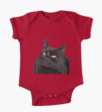 Relaxed Black Cat Portrait Vector Isolated One Piece - Short Sleeve