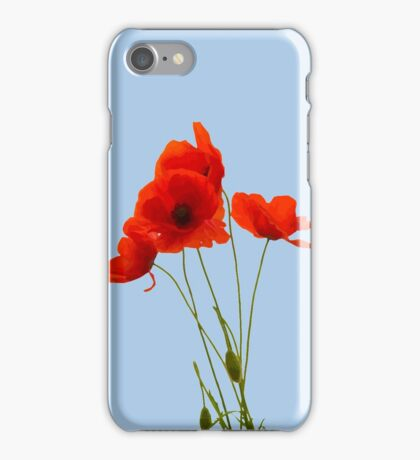 Delicate Red Poppies Vector iPhone Case/Skin