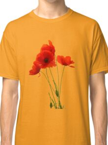 Delicate Red Poppies Vector Classic T-Shirt