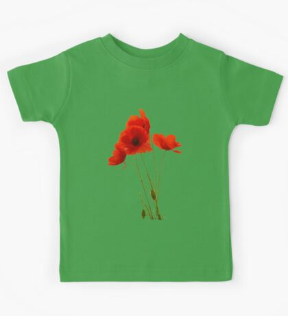Delicate Red Poppies Vector Kids Tee