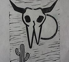 Windy Desert Cow Skull by JenDrawsIt