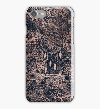 Modern rose gold blue dreamcatcher floral pattern  iPhone Case/Skin