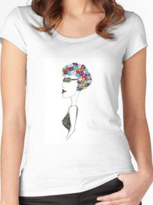 Happiness = 1930s swimming cap Women's Fitted Scoop T-Shirt