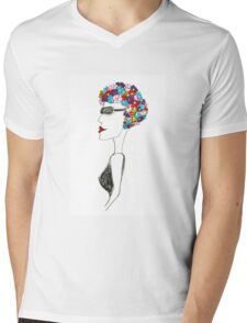 Happiness = 1930s swimming cap Mens V-Neck T-Shirt