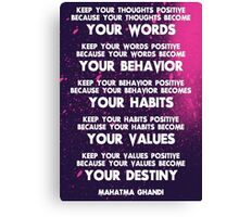 Motivational Quotes - Keep your words positive - Ghandi Canvas Print