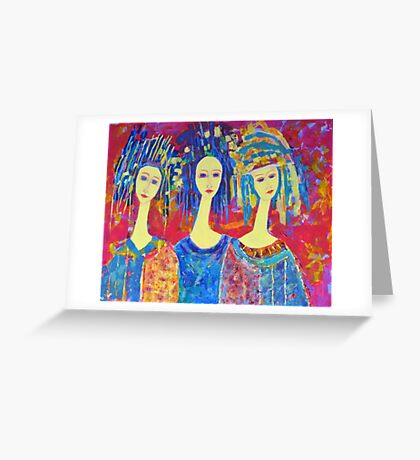 Women Girls Ladies Decorative Colorful Pink painting Greeting Card