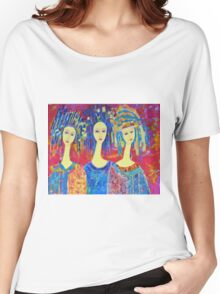 Best selling decorative woman painting Large Sized Women's Relaxed Fit T-Shirt