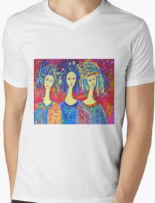Best selling decorative woman painting Large Sized Mens V-Neck T-Shirt
