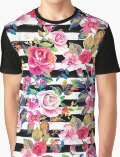 Cute spring floral and stripes watercolor pattern Graphic T-Shirt