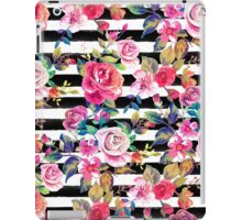 Cute spring floral and stripes watercolor pattern iPad Case/Skin