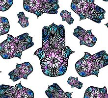 hand drawn floral watercolor Hamsa hand of Fatima by GirlyTrend