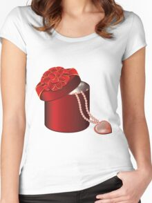 Valentine Red Round Gift Box with Heart Women's Fitted Scoop T-Shirt