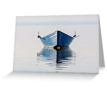 Bow of the boat is reflected in the water Greeting Card