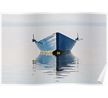 Bow of the boat is reflected in the water Poster